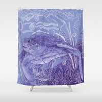 Periwinkle Sea Turtle Shower Curtain - purple Artisitic Watercolor Sea Turtle Surf beach, surfer, coastal decor, bathroom
