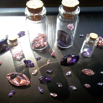Shikon Jewel Shards with LARGE or SMALL Bottle - necklace charm earring glass bottle Jeweler's Quality cut gems and F*R*E*E Trading Card