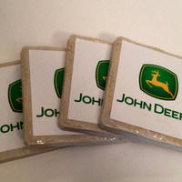 John Deere Tile Drink Coasters - Set of 4