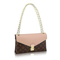 LV Louis Vuitton Pallas Chain Dune Color Clutch Shoulder Bag Cross Body Article: M50069