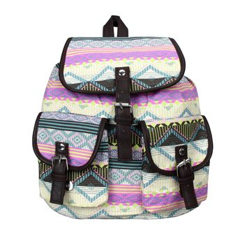 Ladies Casual Satchel Canvas Travel Backpack - Pastel Chic