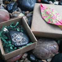 Black River Stone Pendant with Crocheted Silver Plated Flower and Grey Pearl