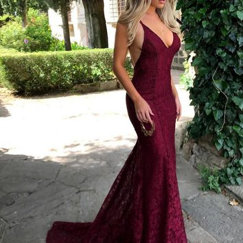 Custom Made Mermaid Maroon/Burgundy Lace Prom Dress with Spaghetti Straps, Maroon Formal Dress, Burgundy Bridesmaid Dress