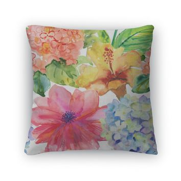Throw Pillow, Abstract Watercolor Hand Painted S With Magnolia Hibiscus And Orchid