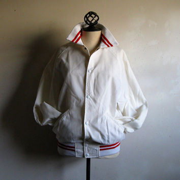 Vintage 1980s Sport Jacket White Red Stripe Chalk Line Sport Varsity Nylon 80s Coat Mens Med
