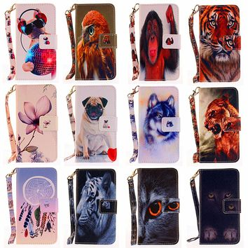 Pets fashion Flip Leather mobile phone shell For Huawei honor 8 P9 lite P10 lite P8 lite 2017 wallet design magnetic phone Case