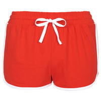 Sporty Side Step Runner Shorts - Red