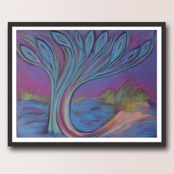 Blue Purple painting / Tree peacock feathers / Abstract Landscape Large Art Print / Wall and Home decor