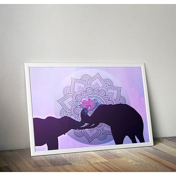 Indian Elephant Love Poster Bohemian Art Print Poster With Lotus Flower Design no frame 20x30 Large