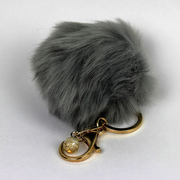 Real fur bag charm, fur keychain, fur pom pom, fur ball by KnitPopShop