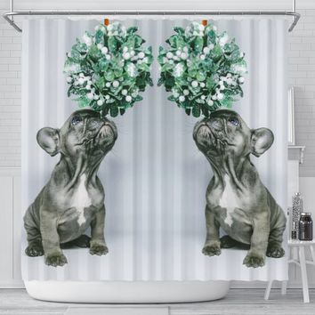Boston Terrier Puppy Print Shower Curtains-Free Shipping