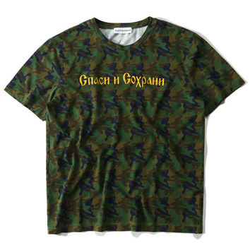 Couple Alphabet Camouflage Cotton Short Sleeve T-shirts [10351478279]