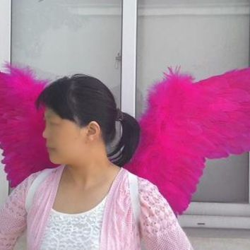 Pretty Rose Red Angel Feather Wings Party Wedding Cosplay Costume