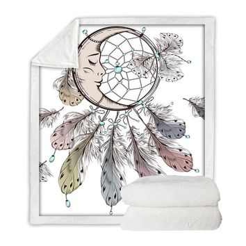 Moon Dreamcatcher Boho Throw Blanket
