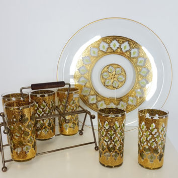 Set of Mid Century Gold Green Cocktail Bar Glasses, Culver Valencia 22k gold Tumblers Caddy Rack, Mid Century Modern Barware Set, Gold Decor
