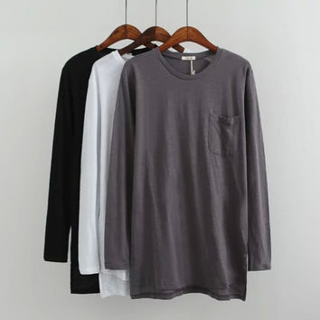 Long-Sleeve Pocket Dress Shirt