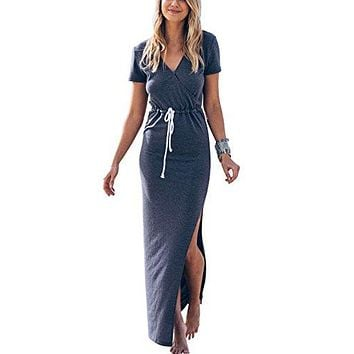 Women's Sexy V Neck Casual Beach Club Maxi Dresses Summer Party Long Dress
