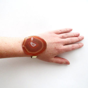 Stone Cuff Bracelet. Brass & Rust Red Agate Slice