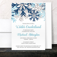 Winter Onederland Invitations Boy - Blue and Silver Snowflakes on White - Aqua Navy Winter 1st Birthday - Printed Invitations