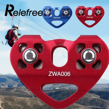 Relefree 1 pcs Climbing Kit Double Trolley Heart-shaped Double Pulleys Mountaineering Buckle Carabiner Lightweight Tensile Rope