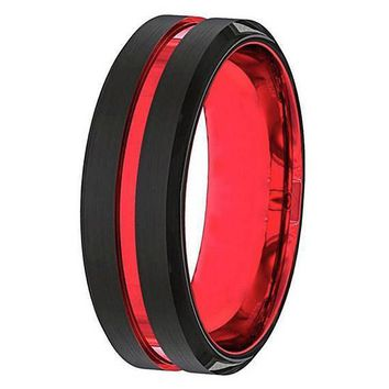 Colton Men's Black And Red Grooved Tungsten Wedding Band 6mm & 8mm