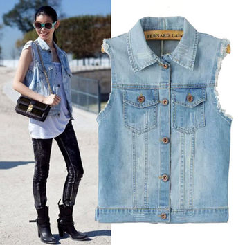 Vintage Rinsed Denim Weathered Ripped Holes Denim Women's Fashion Jacket [4919029636]