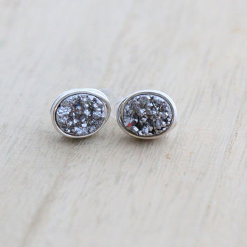 Druzy Pebble Studs - Platinum