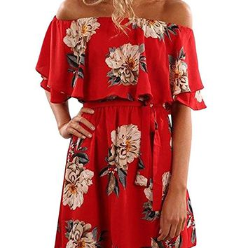Women Summer Off Shoulder Strapless Floral Print Pleated Dresses