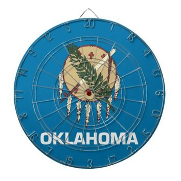 Dartboard with Flag of Oklahoma, USA