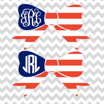 American Flag Monogram Bow Decal | Circle Monogram or Vine Monogram