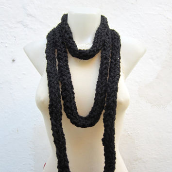 Chunky infinity Scarf,Crochet Scarf,Finger Knit Scarf,Chain