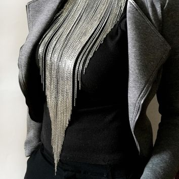 Fringe Chain Necklace Silver City, Waterfall Necklace