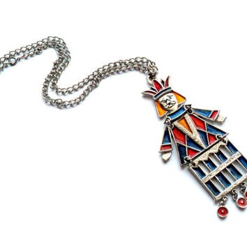 Vintage Signed Capri King Necklace Guilloche Enamel Colorful Jester Silver Tone Articulated Pendant