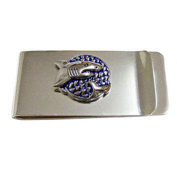Blue and Silver Toned Shark Money Clip