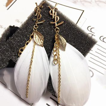 YSL Newest Fashion Women Personality Exaggerated Feather Pendant Long Style Earrings Accessories Jewelry I13696-1