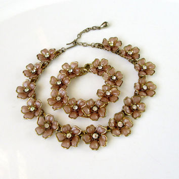 Pink Floral Necklace And Bracelet Jewelry Set With Rhinbestone Centers Vintage Collectible Gift Item2391