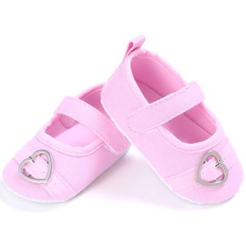Baby Girls Sweet Pink Color Heart Pattern Princess Anti-slip Shoes