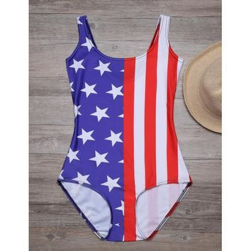 Star And Stripes Patchwork American Flag Slim One Piece Swimsuit