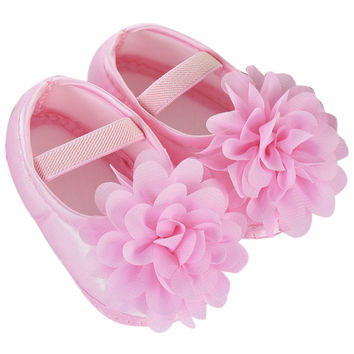 Flats Breathable Zip Kids Casual shoes Spring Infant toddler Kid Baby Girl Chiffon Flower Elastic Band Newborn Walking Shoes