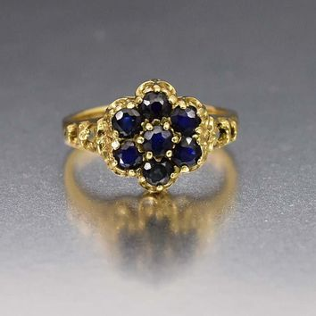 Blue Sapphire Cluster & Gold Vintage Engagement Ring