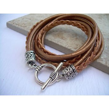 Womens  Leather Bracelet , Metallic Copper, Triple  Wrap, Triple Strands, Womens Jewelry, Womens Bracelet
