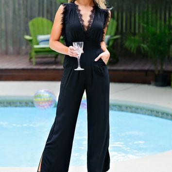 * Adalynn Lace Sleeveless Jumpsuit : Black