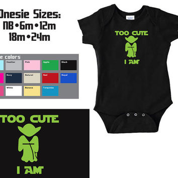 "YODA ""Too Cute I Am"" Star Wars Baby Onesuit"