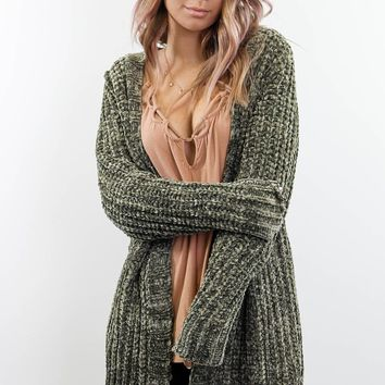 Sweet Chill Olive Chenille Long Cardigan