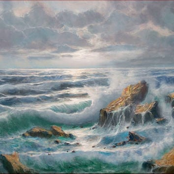 Big Italian painting oil on canvas 70x100 cm seastorm original of Remo Aldini Italy