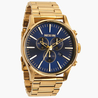 Nixon The Sentry Chrono Watch Gold/Blue Sunray One Size For Men 24407862101