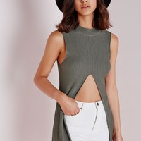 Missguided - Split Front Knitted Ribbed Vest Khaki