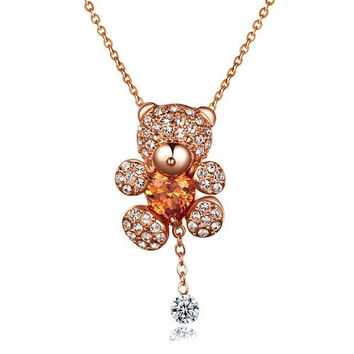 Baubles N Gems 18k Rose Gold Plated Sterling Silver Swarovski Austrian Crystal Teddy Bear Necklace with Simulated Yellow Citrine