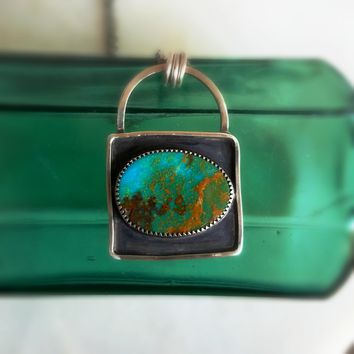 "Rustic Turquoise ""Specimen"" Shadow Box Pendant in Sterling Silver"