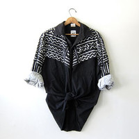 Vintage tribal print shirt. western Roper shirt. Black & white button up shirt.